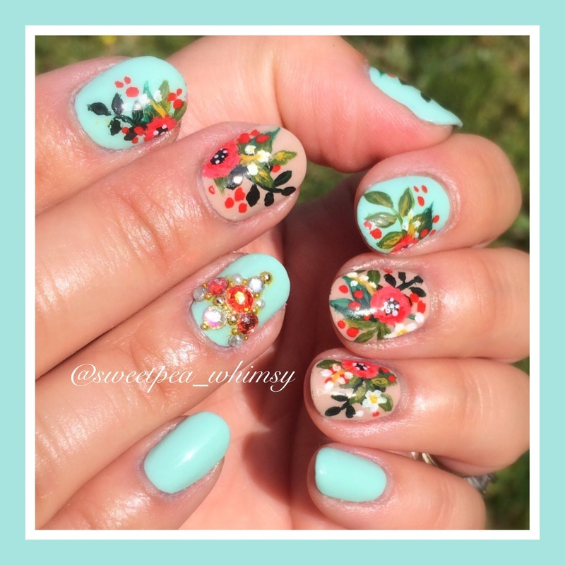 Red Floral on Aqua & Nude nail art by SweetPea_Whimsy
