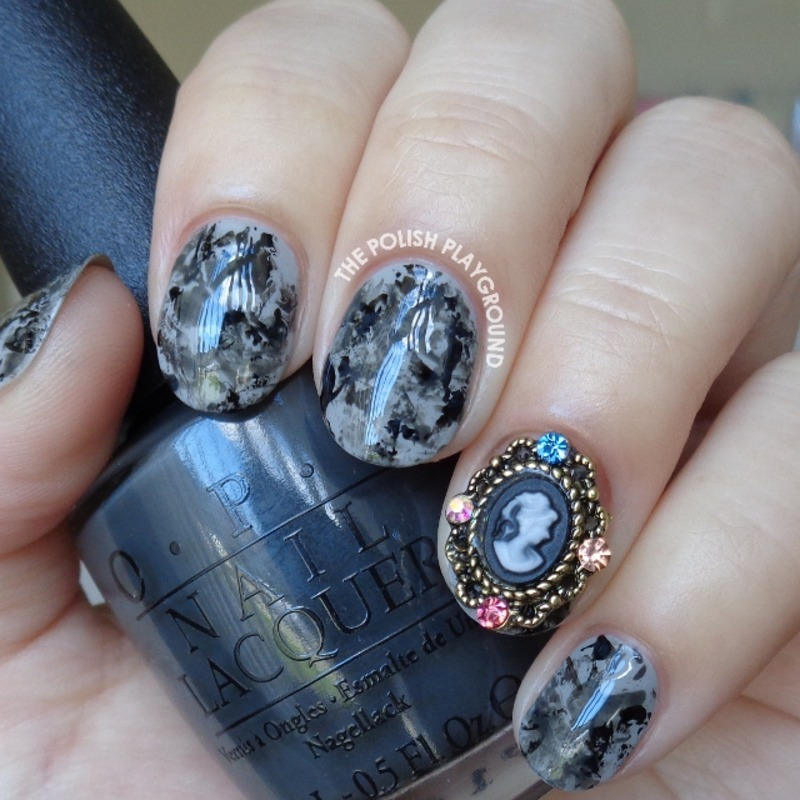 Grey and Black Saran Wrap with Silhouette Nail Stud nail art by Lisa N