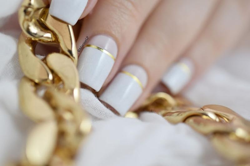 White & Gold nail art by Marine Loves Polish