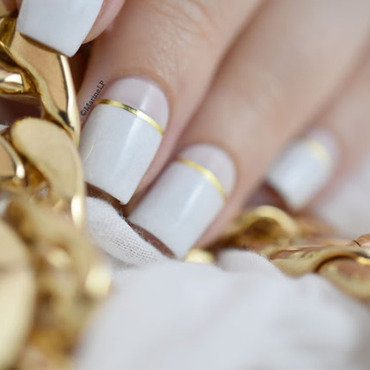 White & Gold nail art by Marine Loves Polish