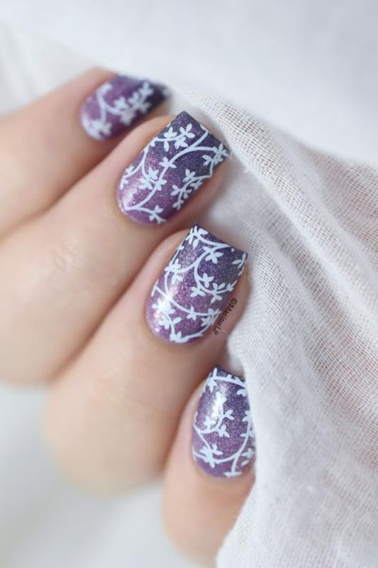 Floral Gradient nail art by Marine Loves Polish