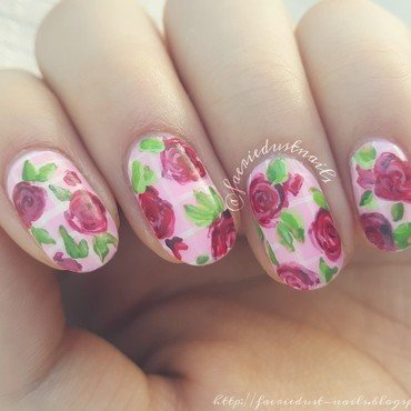 Matte Vintage Roses nail art by Shirley X.
