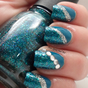 Blue Bling nail art by Free_Spirit_Nail_Art