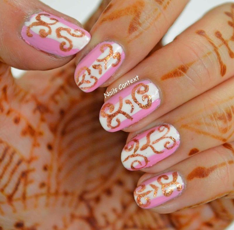 Pink and Rose Gold  nail art by NailsContext