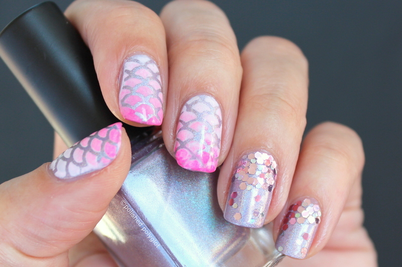 pink & lilac mermaid nails nail art by Polished Polyglot