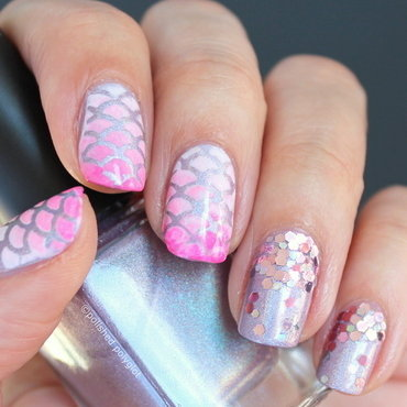 pink & lilac mermaid nails nail art by Polished Polyglot
