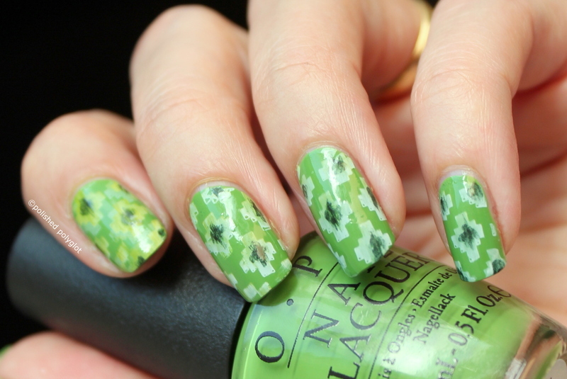 Ikat in three shades onf green nail art by Polished Polyglot