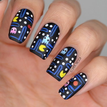 Going Retro with Pacman nail art by Jayne