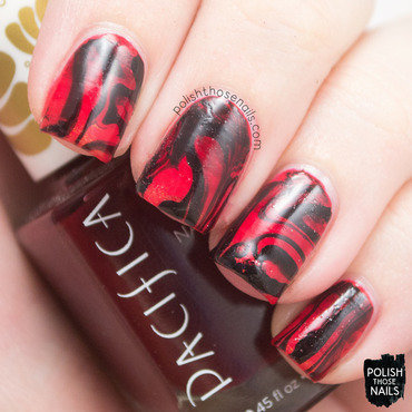 Red gradient black watermarble nail art 4 thumb370f