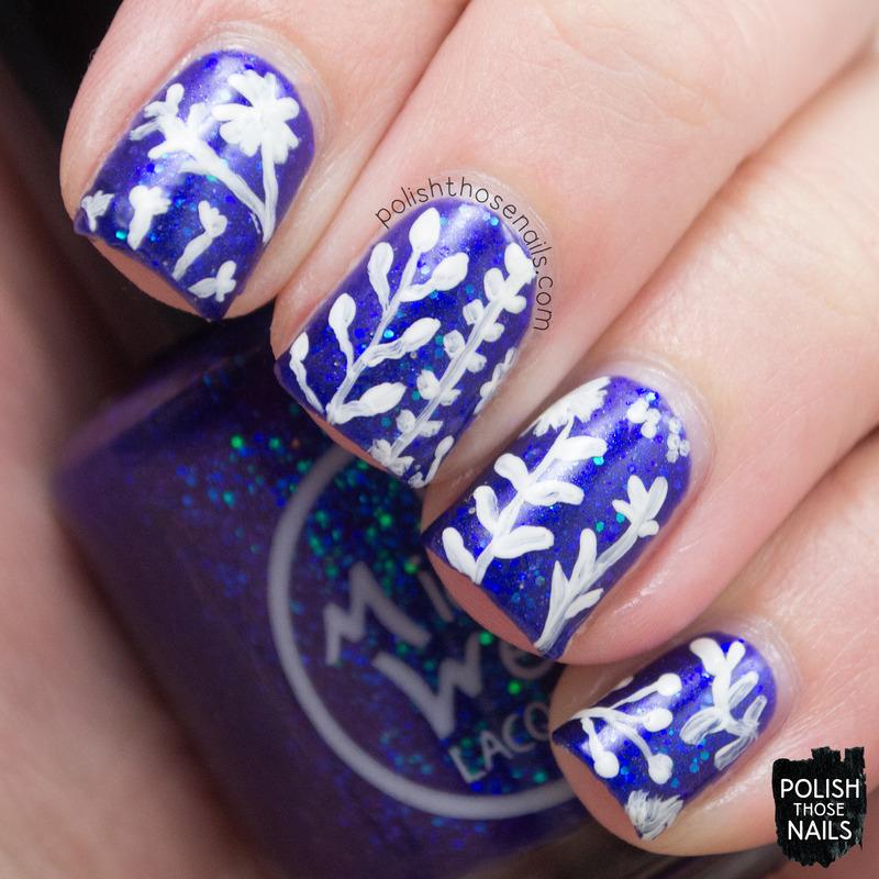 Flying Florals nail art by Marisa  Cavanaugh