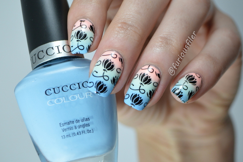 Floral Pastel Gradient  nail art by Furious Filer