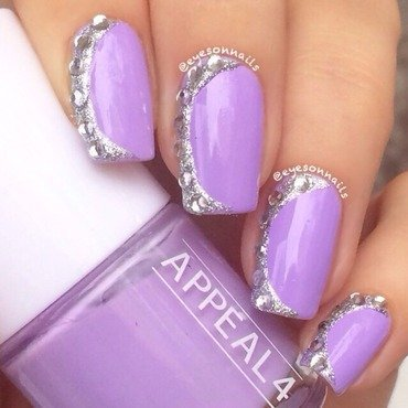 Lilac and glitter slants  nail art by Virginia