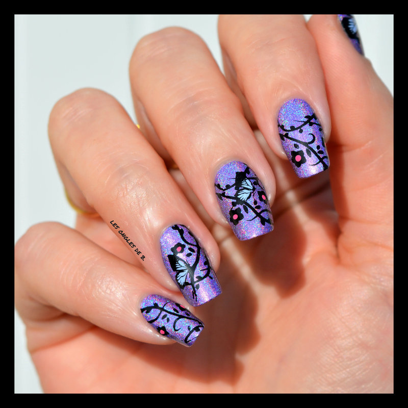 Butterfly nail art by Les ongles de B.