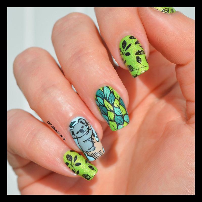 Koala nail art by Les ongles de B.