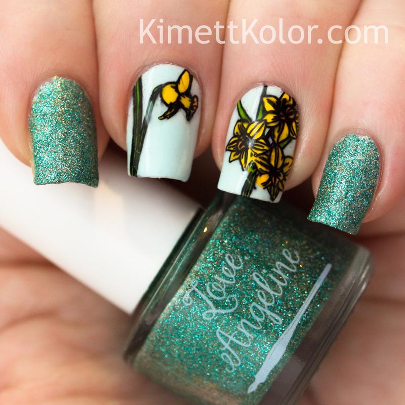 March Birthday Nail Art - Aquamarine and Daffodils nail art by ...