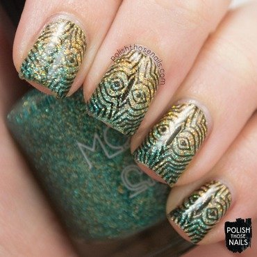 Gold teal holo glitter gradient stamping nail art 4 thumb370f