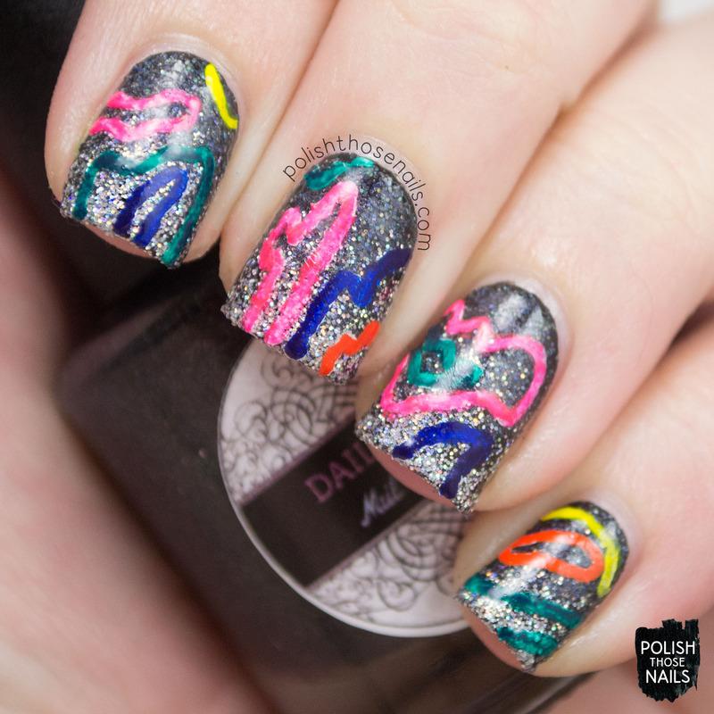 Neon Squiggles nail art by Marisa  Cavanaugh