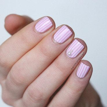 girly stripes nail art by NailThatDesign