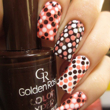 pink & brown dotticure nail art by NailArt_T