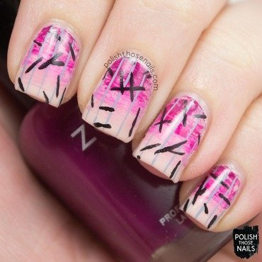 Distressed pink gradient stripes pattern nail art 4 thumb370f