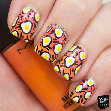 Retro Eggs nail art by Marisa  Cavanaugh