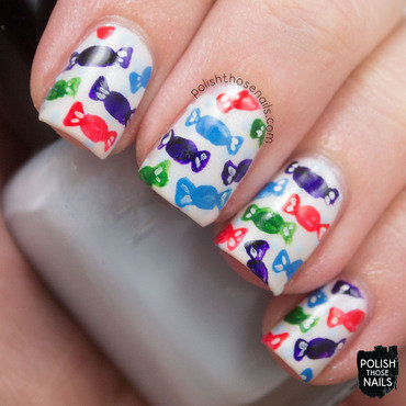 White polka dot candy sweets pattern nail art 4 thumb370f