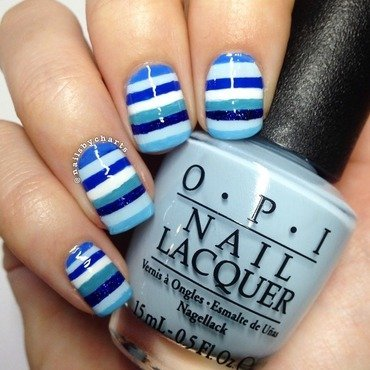 Blue stripes  nail art by Claudia