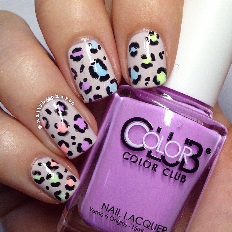 Neon Leopard Print  nail art by Claudia