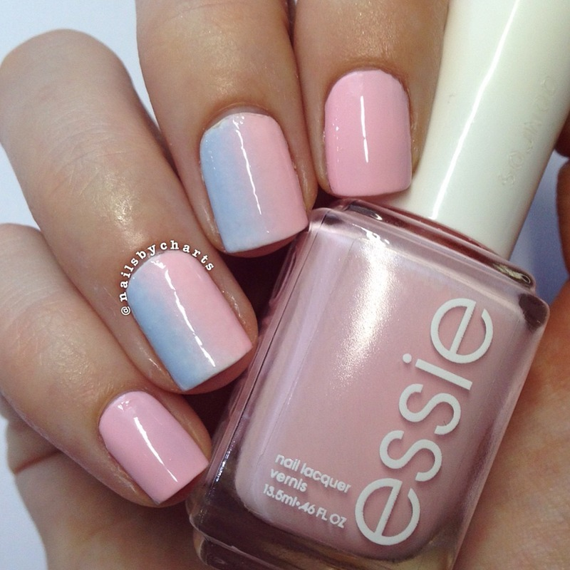 Pink and blue vertical gradient  nail art by Claudia