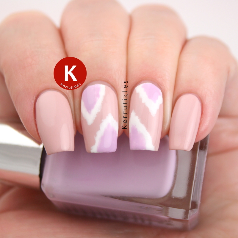 Pink and lilac Ikat nail art by Claire Kerr