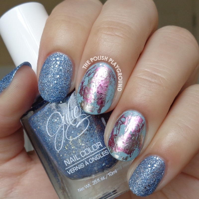 Blue Texture with Pink and Silver Nail Foil nail art by Lisa N ...
