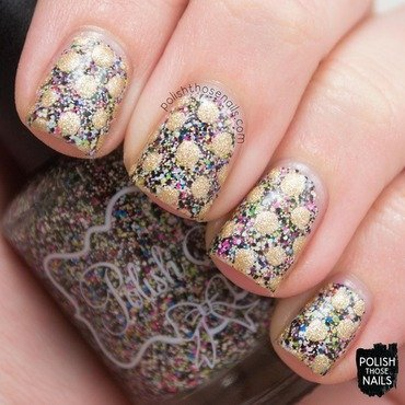 Polish m behind the scenes multicolor glitter gold polka dots nail art 3 thumb370f