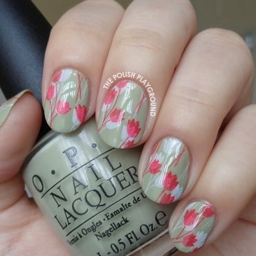 White and Red Double Tulips Stamping nail art by Lisa N