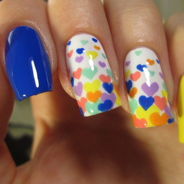 floating hearts nail art by NailArt_T