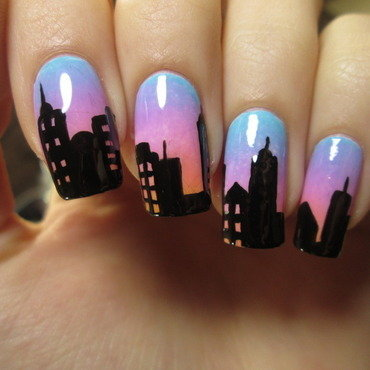 skyline nail art by NailArt_T