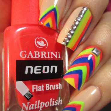 neon stripes nail art by NailArt_T