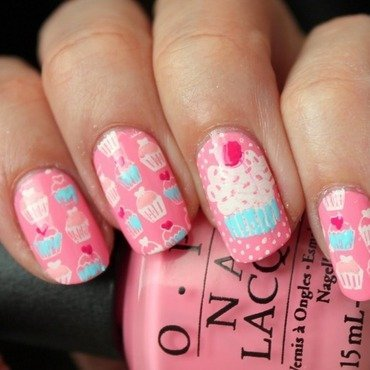 Pink cupcakes  nail art by Polished Polyglot