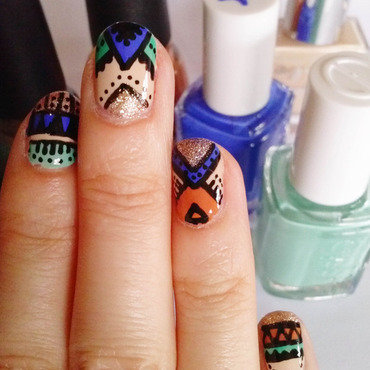 Blue Ethnic nail art by Alizee