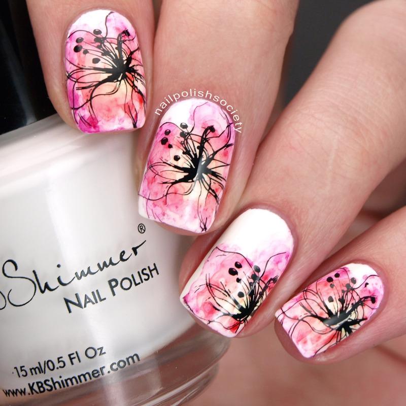 Sharpie Watercolor Flowers nail art by Emiline Harris