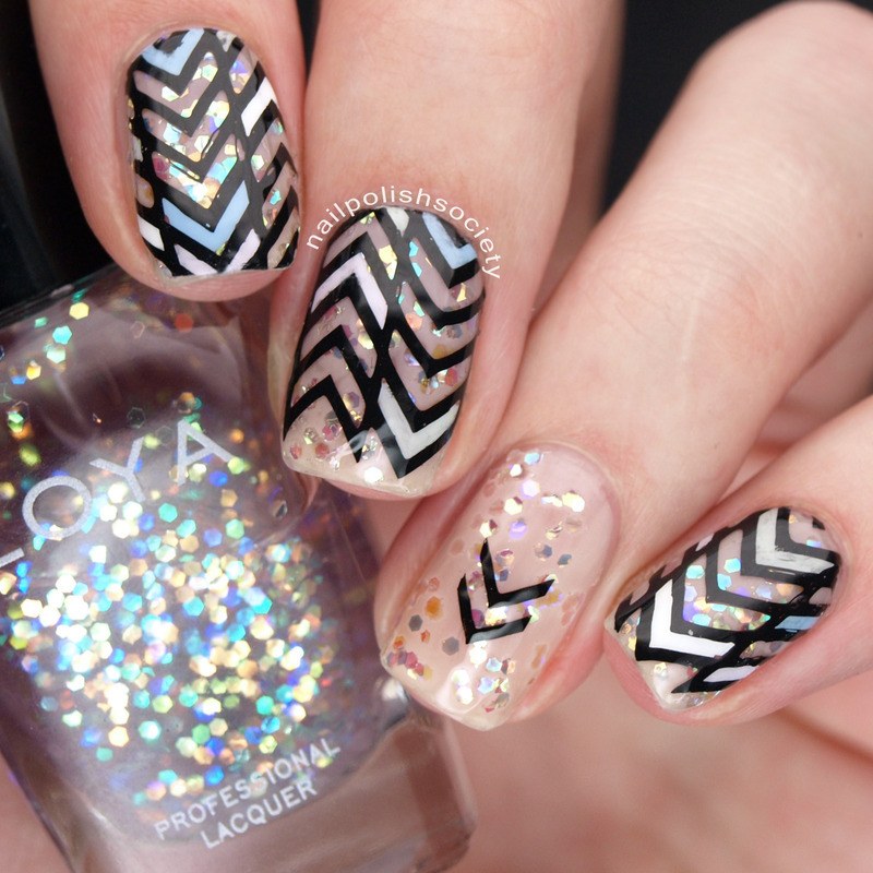 Pastel Geometric Nails nail art by Emiline Harris