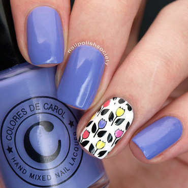 Colorful Tulips nail art by Emiline Harris