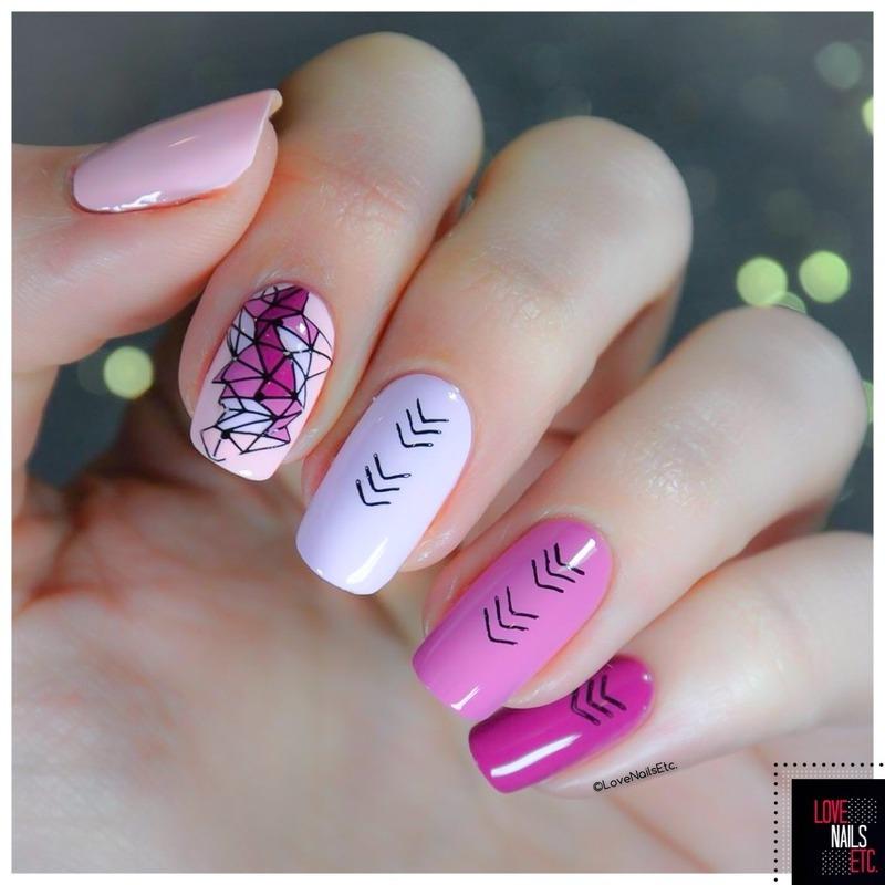 Ombré Geometric nail art by Love Nails Etc