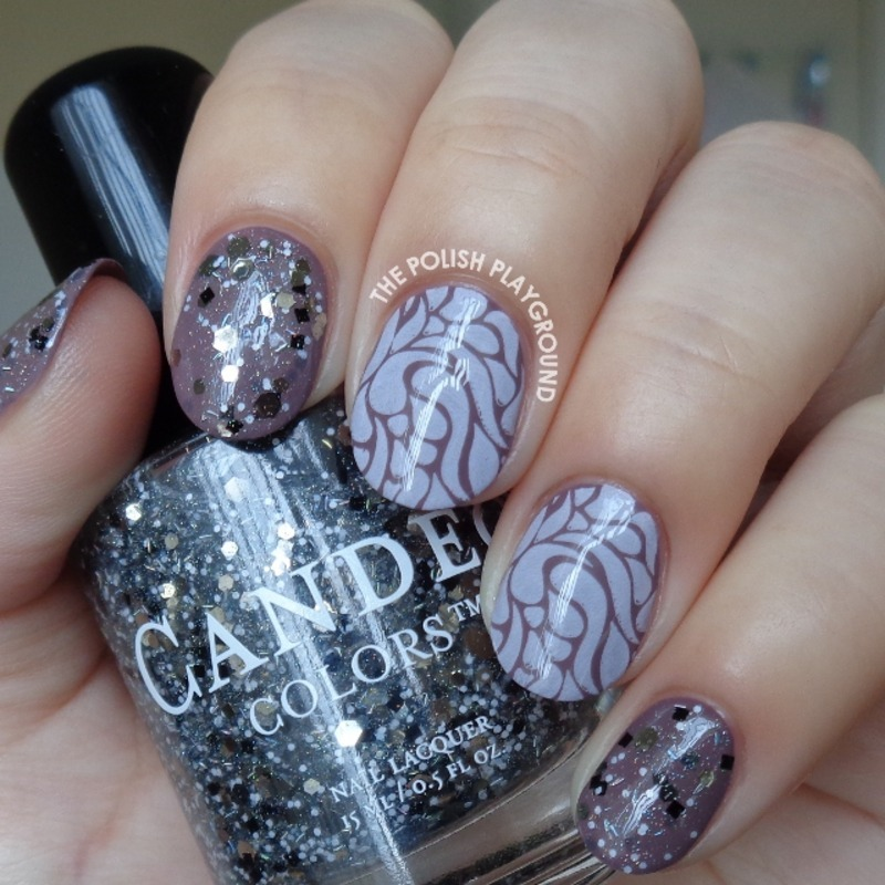 Purple Brown and Light Pink Stamping nail art by Lisa N