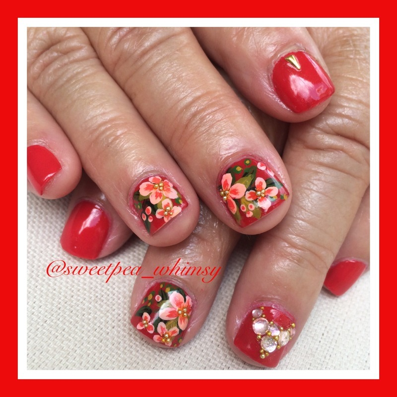 ❤ For Mom - Pink Floral on Red nail art by SweetPea_Whimsy
