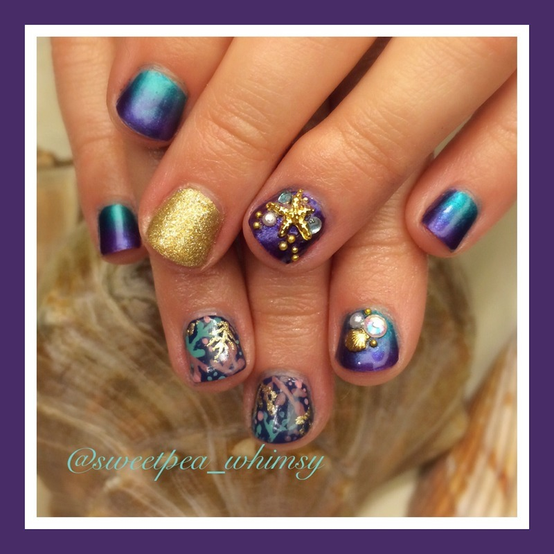 """🐠 Tarte Cosmetics """"Rainforest of the Sea"""" Inspired nail art by SweetPea_Whimsy"""