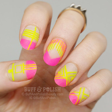 Neon Matte with Negative Space nail art by Buff & Polish