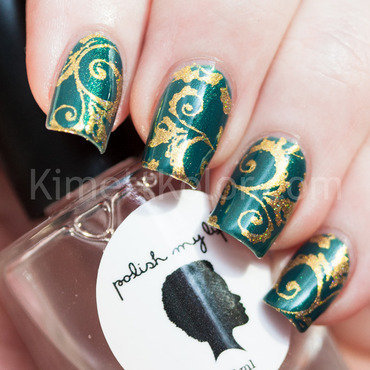 Teal and Gold Baroque Stamping nail art by Kimett Kolor