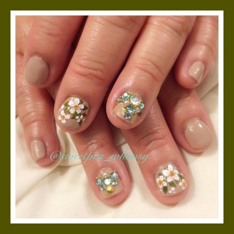 Apple Blossoms on Nude nail art by SweetPea_Whimsy