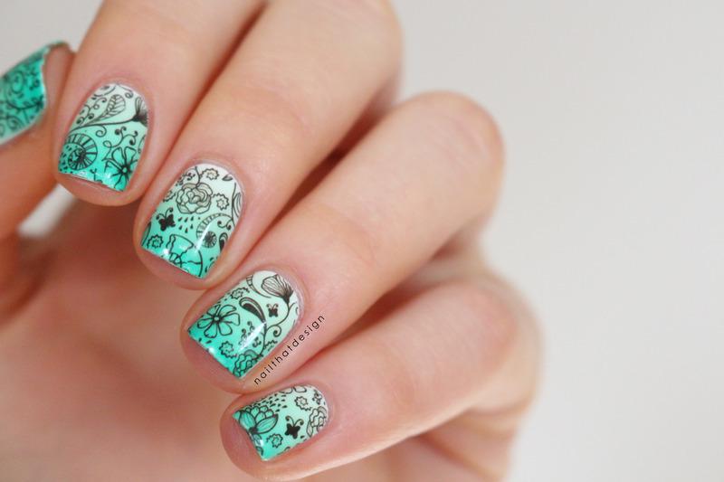 water decal gradient nail art by NailThatDesign