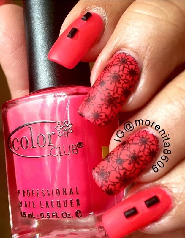Matte hor pink nail art by Morenita  Morena